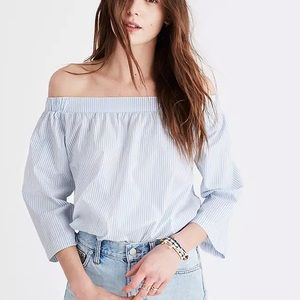 Madewell Clean Off The Shoulder Stripe Top